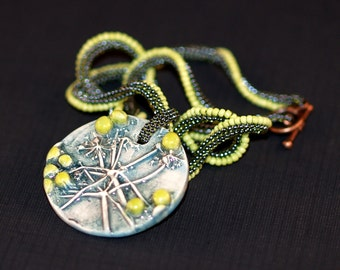 Cilantro Lime Twist ... Necklace . Ndebele Rope . Ceramic Pendant . Green . Chartreuse . Nature Lover . Twisted . Copper Closure