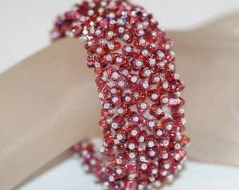 Cranberry Juice Cocktail ... Bracelet . Fringed . Beaded . Lush . Caterpillar . Pearly White . Red . Supple . Texture . Holiday Accessory