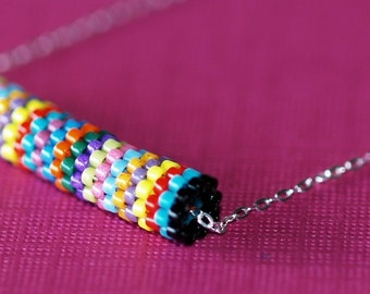 Fiesta Stripe ... Necklace . Sterling Silver Chain . Colorful . Multicolor . Peyote Tube . Round . Tubular . Simple . Stylish . Chic