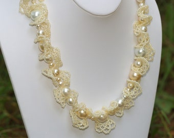 Perla ... Necklace . Pearly . Flirty . Feminine . Bride . Wedding . Creamy . Ivory . Off White . Faux Pearls . Netting . Ruffles