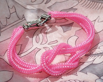 Hope ... Bracelet . Pink Frost . Knotted . Breast Cancer Awareness . Magnetic Clasp . Feminine . Ndebele Rope . Beadwoven