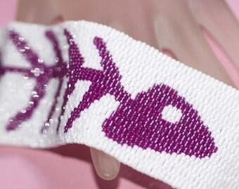 Fuchsia Fish Bones ... Peyote Bracelet . Wide Cuff . Whimsical . Skeleton . Silly . Purple . Raspberry . Fun . Cute . Bright