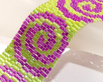 Curlicue ... Bracelet Cuff . Lime Green . Lilac . Peyote . Swirls . Spirals . Whimsical . Beadweaving