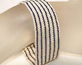Pinstripes ... Peyote Bracelet . Cuff . Stripes . Luster Amethyst . Matte Eggshell . Classic Design . Simple . Stylish . Modern