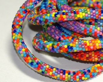 Zuri ... Bead Crochet Necklace . Beaded Crochet . Multicolor . Colorful . Intricate . Patterned . Bold . Africa Inspired . Rainbow Colors