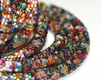 Nuru ... Bead Crochet Rope . Necklace . Bracelet . Metallic . Colorful . Intricate . Bold . Industrial Chic . Multi Color . Versatile