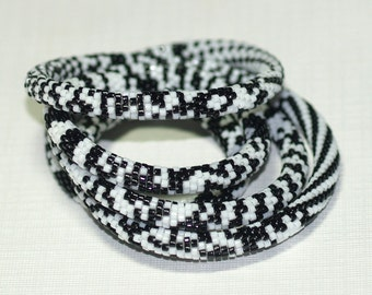 Rufaro ... Bead Crochet Rope . Necklace . Bracelet . Black and White . Classic Colors . Bold . Stylish . Contrast . Intricate Pattern