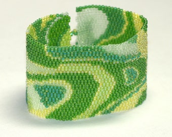 Midori ... Peyote Bracelet . Beadwoven Cuff . Monochromatic . Lime Green . Melon . Kelly . Lemon Yellow . Swirly . Mod . Spring