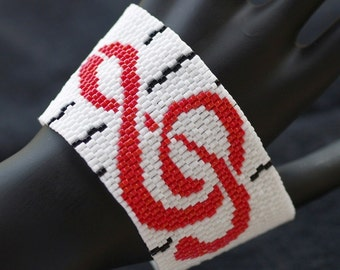 Treble Clef ... Peyote Bracelet . Beadwoven Cuff . Wide . Bold . Music Lover . Musician . Black . White . Red . Gray . Classic Colors