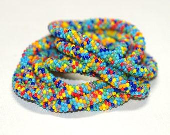 Beadylicious ... Bead Crochet Rope . Necklace . Bracelet . Bead Crochet . Multicolor . Colorful . Rainbow . Festive . Wrap