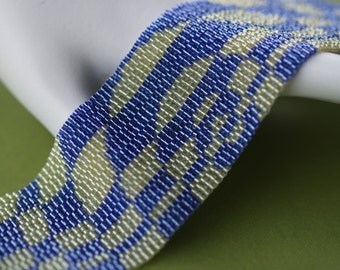 Op Art in Peridot and Purple ... Peyote Bracelet . Beadwoven Cuff . Wide . Optical Illusion . Graphic . Geometric . Abstract . Green . Plum