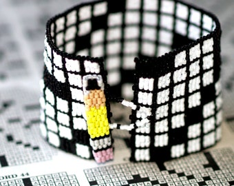 Crossword Puzzle ... Peyote Bracelet . Beadwoven Cuff . Black and White . Wide . Geometric . Sunday Morning . Crusiverbilist . Pencil . Fun