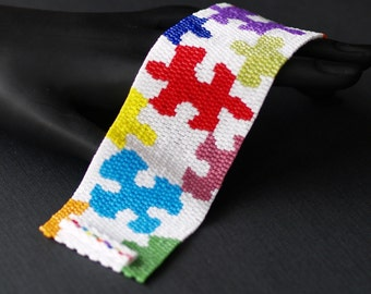 Multicolor Puzzle ... Peyote Cuff . Beadwoven Bracelet . Jigsaw Puzzle . Wide . Colorful . Multicolor . Rainbow . Autism Awareness