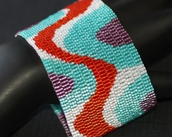 Bends and Bubbles ... Peyote Bracelet . Beadwoven Cuff . Retro Colors . Funky . Frosty . Red . Turquoise . Grape . White . Handmade Gift