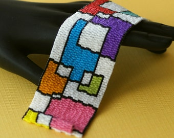 Playing with Blocks ... Beadwoven Cuff . Peyote Bracelet . Multicolor . Colorful . Wide . Geometric . Bright . Rainbow . Mondrian Inspired