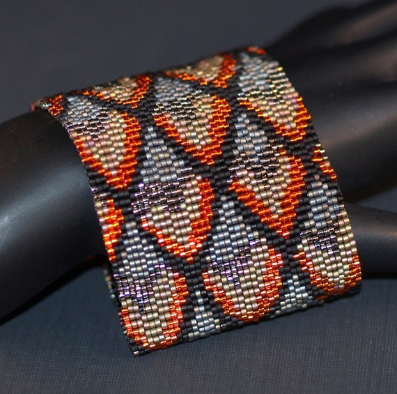 Dragon Scales, Waning Fire ... Beadwoven Cuff . Peyote Bracelet . Wide . Metallic . Hot . Embers . Charcoal . Steel . Olive . Orange