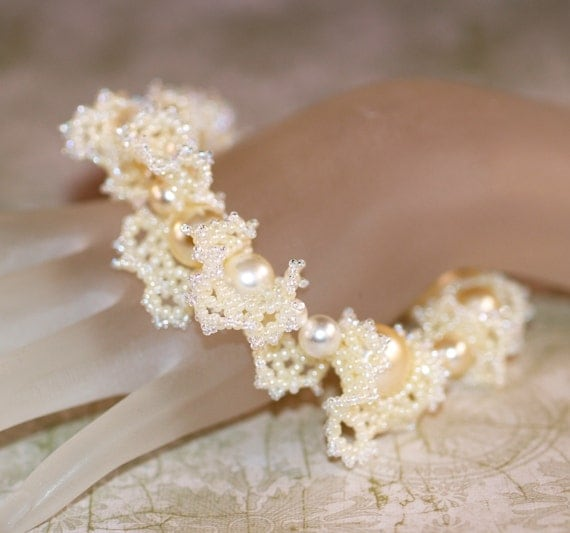To Have and To Hold ... Handmade Bracelet . Ruffled . Beadwoven . Bride . Wedding . Feminine . Frilly . Faux Pearls . Ivory . Seed Beads