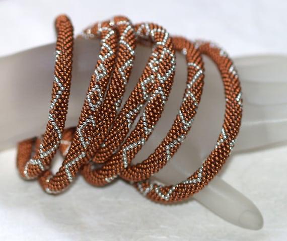 Copper Mine ... Bead Crochet . Necklace . Bracelet . Metallic . Dark Copper . Shiny Silver . Diamonds . Evening Wear . Elegant . Geometric