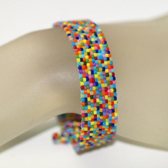 Coloricious ... Peyote Bracelet . Cuff . Narrow . Colorful . Multicolor . Rainbow . Sprinkles . Beaded . Happy . Summery . Rich Colors