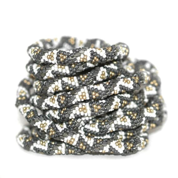 Twist and Shout ... Bead Crochet Rope . Necklace . Platinum . Metallic . Bracelet . Wrap . Triangles . Geometric . Gold . Charcoal
