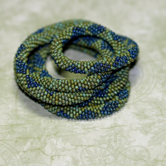 Denim Diamonds ... Necklace or Bracelet . Bead Crochet Rope . Picasso Czech Glass . Olive . Turquoise Green . Dark Blue . Geometric