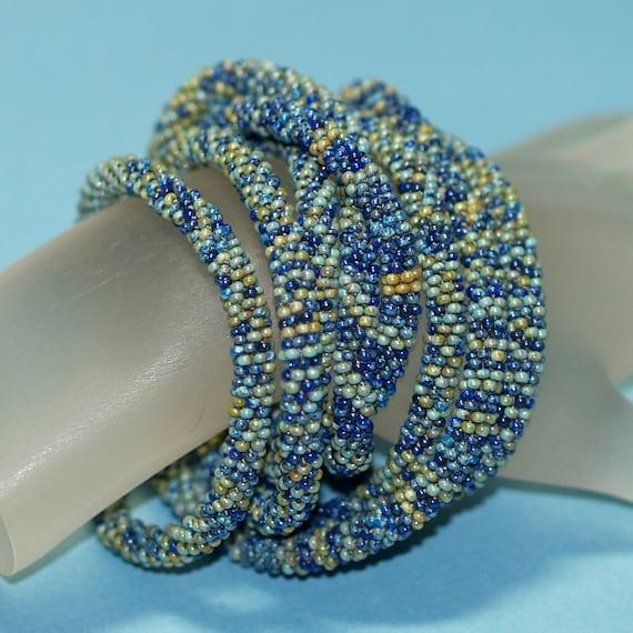 Ondine ... Bead Crochet . Necklace . Rope . Bracelet . Wrap . Turquoise . Teal . Olive . Royal Blue . Ocean Inspired . Supple . Versatile