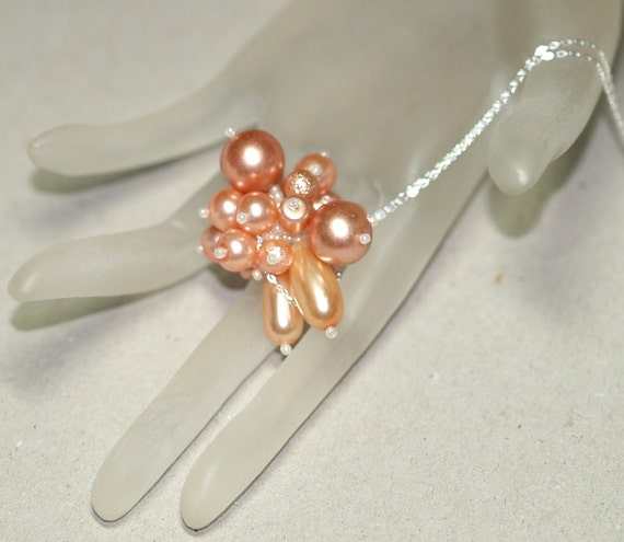 Just Peachy ... Necklace . Pendant . Faux Pearls . Beaded Bead . Chunky . Funky . Sterling Silver Chain . Glass Beads . Elegant . Wedding