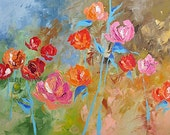 Original Abstract Art Painting Floral Landscape 30x40 NATURE'S RADIANCE by Linda Monfort