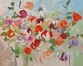 Painting Original Abstract Art Flower Painting Acrylic Canvas Floral Roses Garden 30x40 Linda Monfort