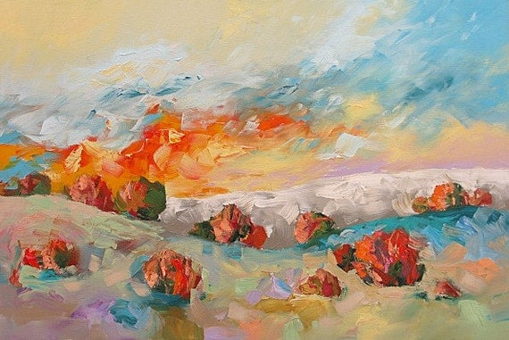Original Painting Landscape Abstract Art Modern Impressionist Sunset Sunrise Surreal Bright Large Acrylic Canvas 24x36 Linda Monfort