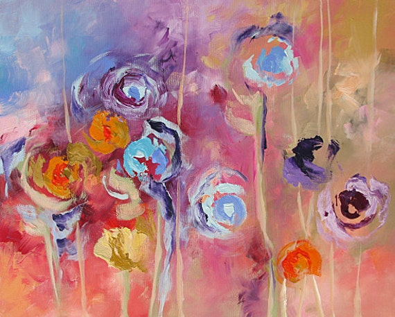 Original floral painting abstract art landscape acrylic on for Abstract art flowers paintings