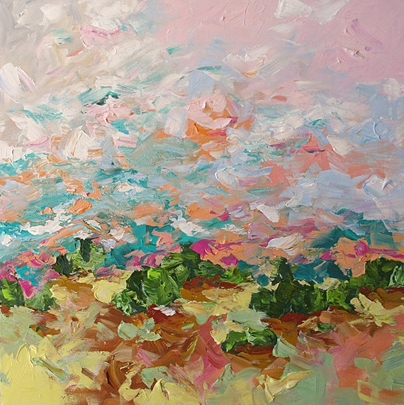Painting Original Landscape Abstract or Impressionist Fauve Sunrise Texture Surreal 30x30 Linda Monfort