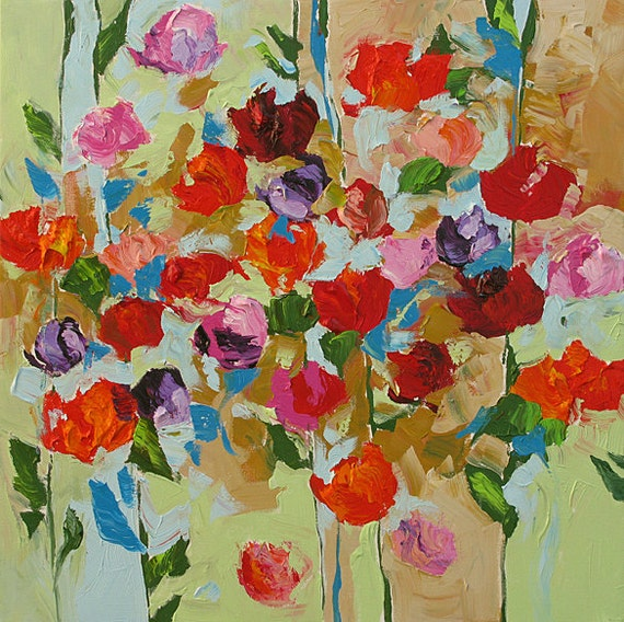 Original Abstract or Impressionist Fauve Floral Painting Bold Bright Rose Garden 24x24 Hello Spring by Linda Monfort
