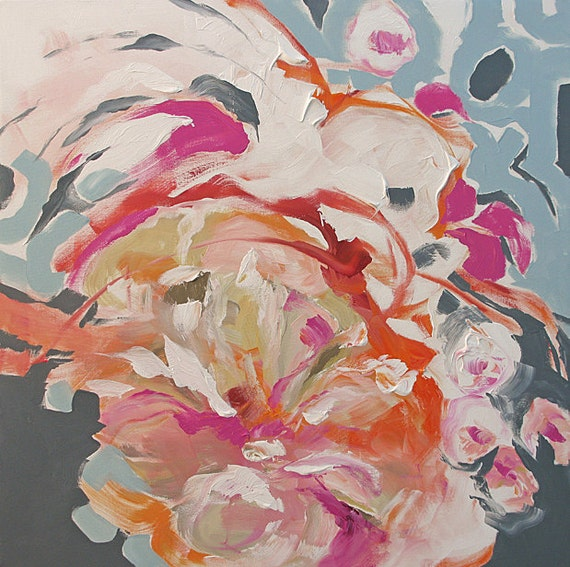 Original Art Abstract or Impressionist Painting Energetic Floral Surreal Flowers Acrylic on Canvas 30x30 Night Bloom by Linda Monfort