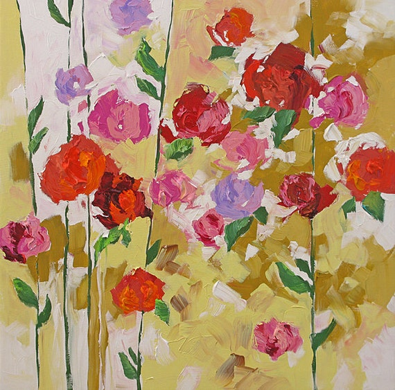 Original Painting Abstract Flowers Fauve Impressionist Roses Bright Landscape Acrylic on Canvas 30x30 Scent Of Spring by Linda Monfort