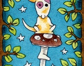 Miniature original painting DOG on a mushroom