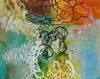 Original Painting Large Abstract Mixed Media Art by Aisyah Ang Size 24x36 with Cert