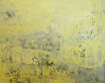Original Painting Abstract Acrylic Mixed Media Large Art by Aisyah Ang 28x36x1.5 inches with Cert