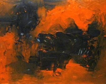 Original Painting Abstract Encaustic Art by Aisyah Ang with Cert 20x40