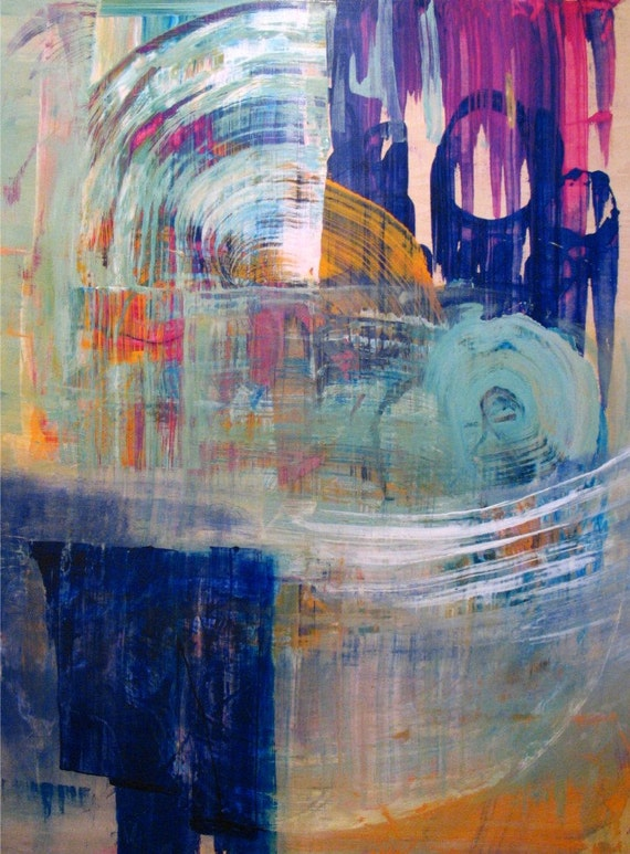 Original Painting Large Abstract Mixed Media Wood Art by Aisyah Ang Size 30x40 with Cert