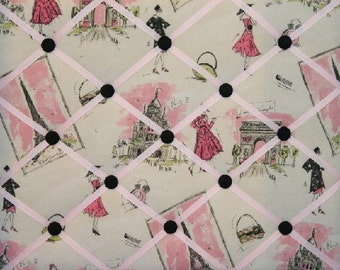 French Ribbon Memo Board Made With Waverly Tres Chic Paris Eiffel Tower Pink Black