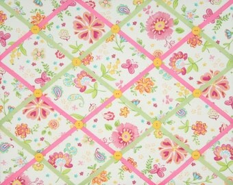Garden Party Pink Flowers French Ribbon Memo Picture Board