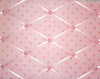 Pink On Pink Polka Dot Suede French Ribbon Memo Board