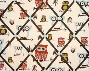 Hooty Owl Print French Ribbon Memo Picture Board