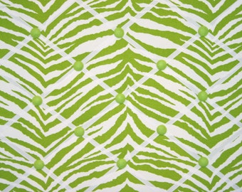 Chartreuse Green White Zebra Animal Stripe French Ribbon Memo Board