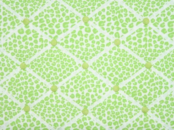 Bright Lime Green Cheetah Leopard Animal Print French Memo Board