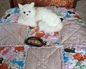 SALE--Cat Blanket, Catnip Blanket, Cat Nip Quilt, Cat Quilt, Tan Cat Blanket, Cat Bed, Fabric Cat Bed, Cat Napping Mat, Travel Pet Mat