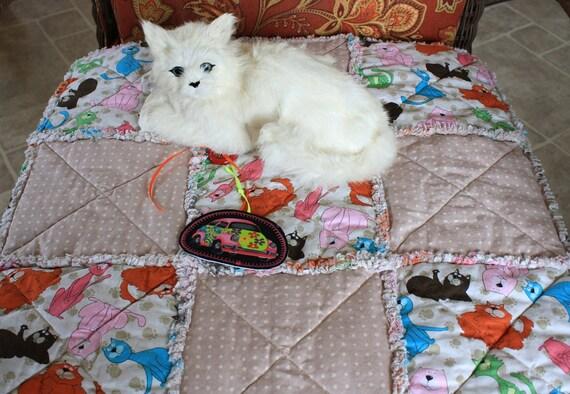 Cat Blanket, Catnip Blanket, Catnip Mat, Cat Nip Quilt, Cat Quilt, Tan Cat Blanket, Cat Bed, Fabric Cat Bed, Cat Napping Mat, Travel Pet Mat