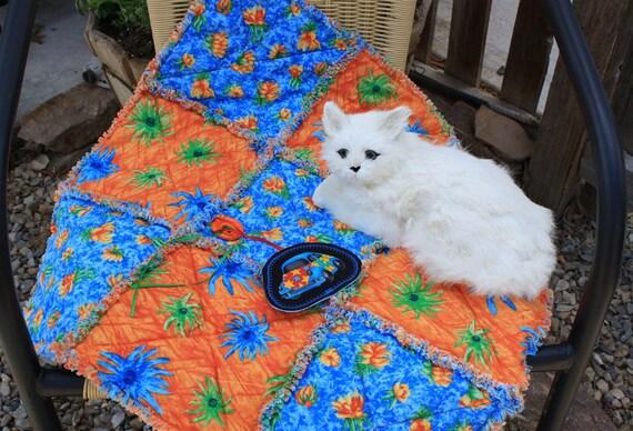 Colorado Catnip Cat Blanket in Bright Blue and Orange