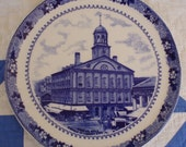 Wm Adams and Sons Cobalt Transfer Ware Historical Souvenir Plates Bunker Hill